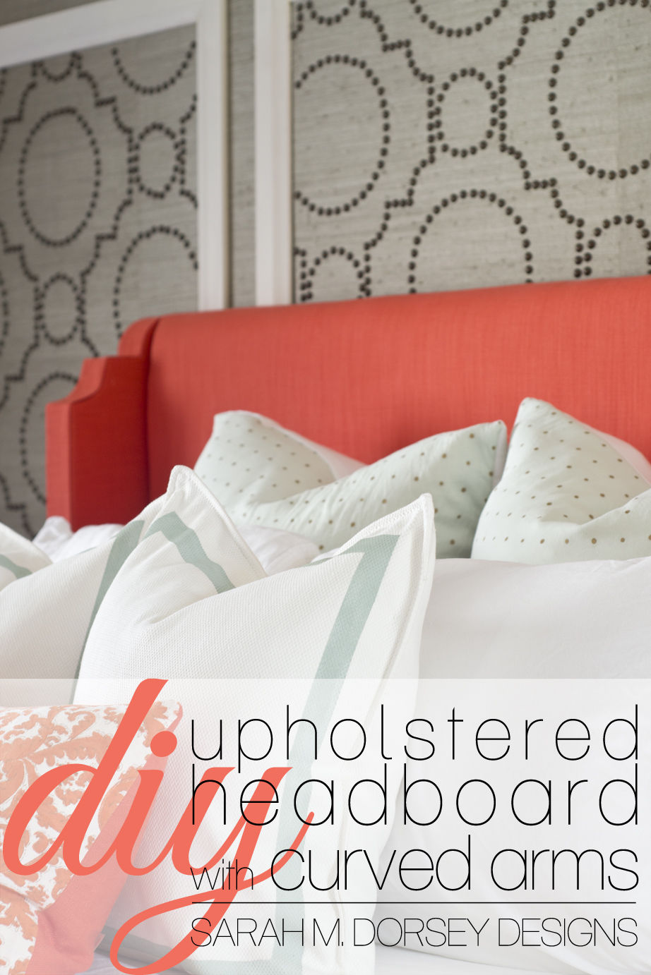 Design Upholstered Headboards Diy sarah m dorsey designs diy coral upholstered headboard with of the moment decision i went from a wood nailhead prior to deciding on wall black or white