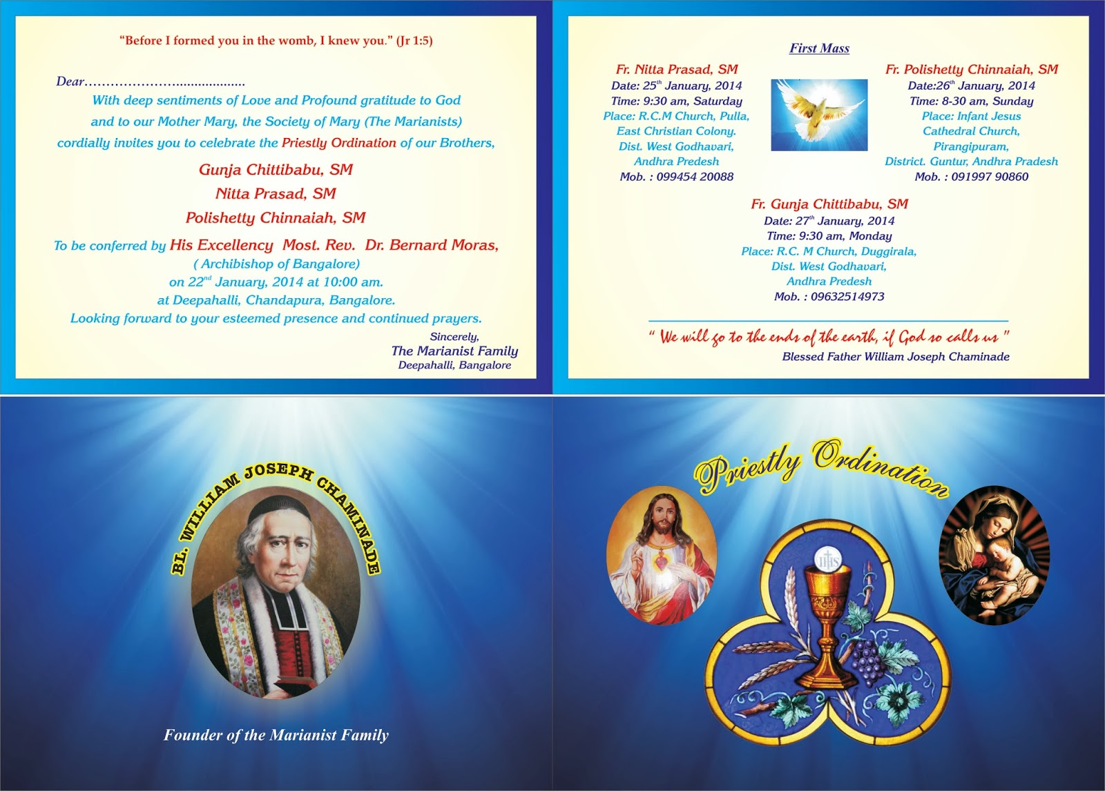Telugu Sangham Rome Italy Invitation to Priestly Ordination of Dn