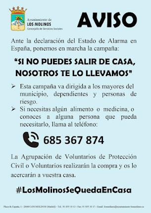 Apoyo a mayores, dependientes y personas de riesgo en Los Molinos