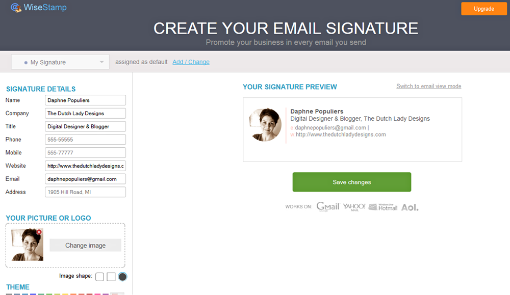 create a professional email signature the dutch lady designs
