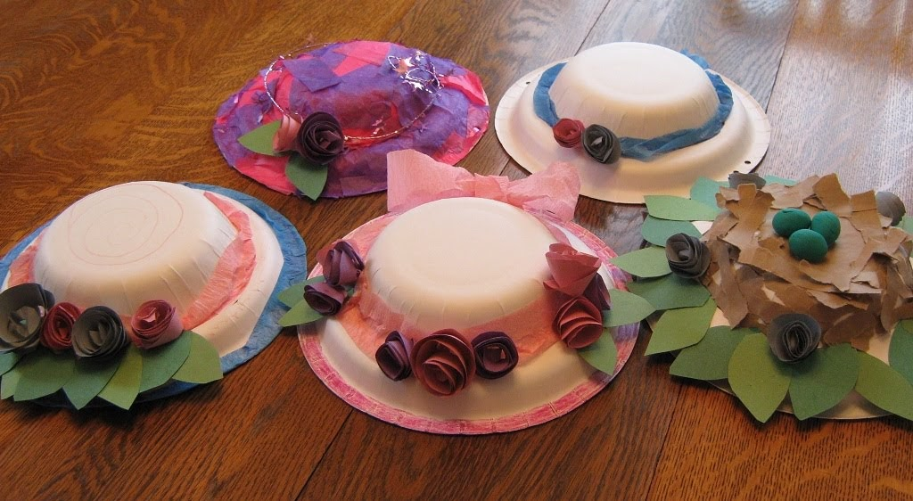 & Almost Unschoolers: Paper Plate Millinery - Easter Bonnets for Children