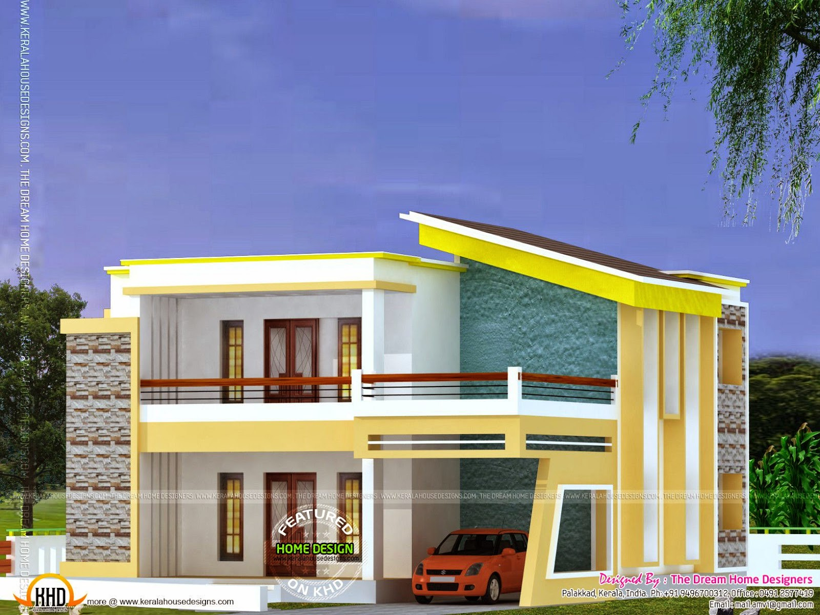 Flat roof house plan and elevation kerala home design for Flat roof elevation