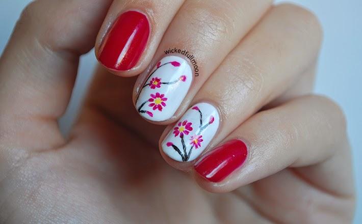 | Nail Art | Flores frambuesa, Raspberry flowers Deborah Milano / Wicked Fullmoon
