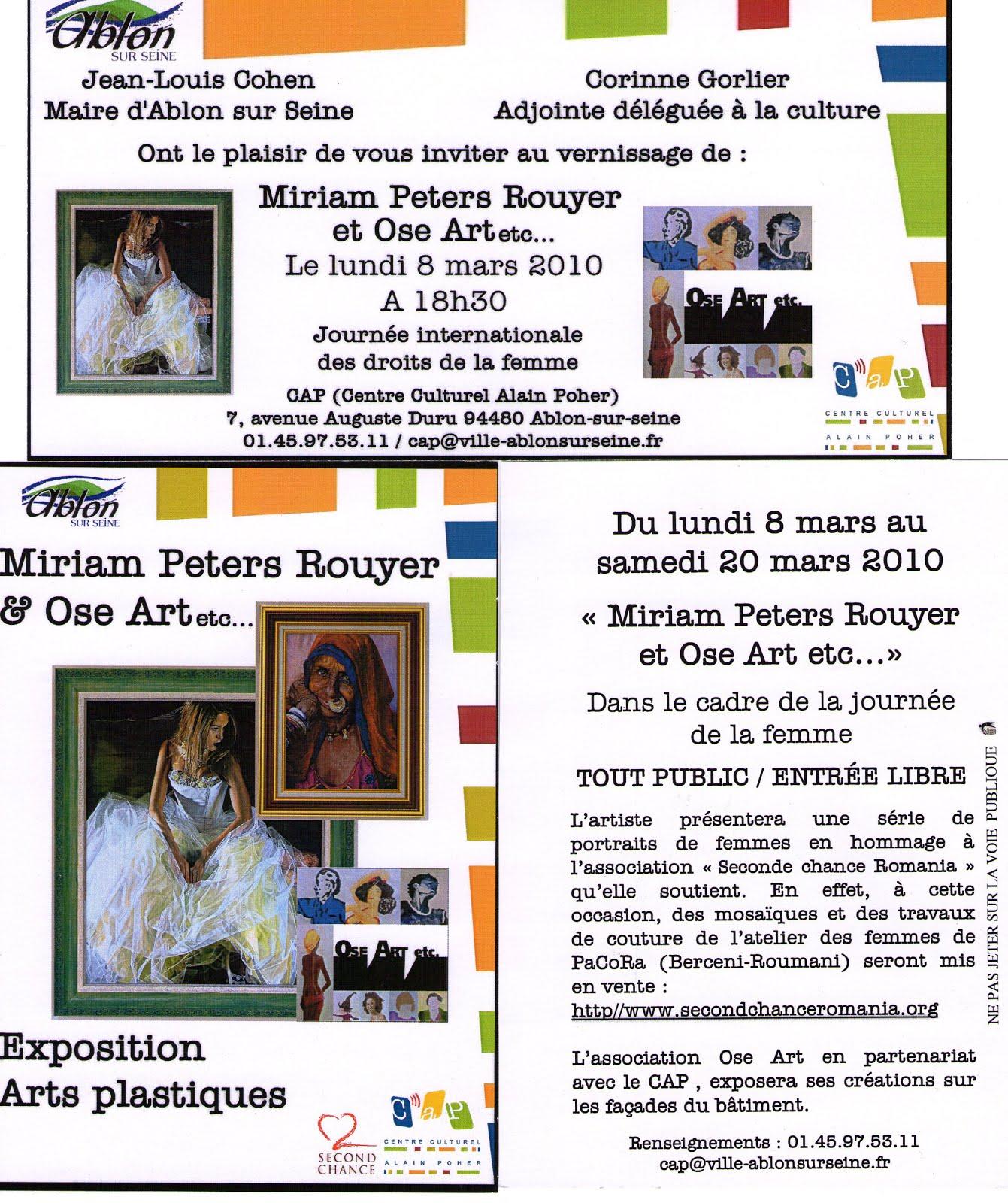 Les invitations pour mon vernissage 2010