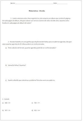 Atividade de Matemática 4° ano - Atividade de divisão - Situação problema de divisão