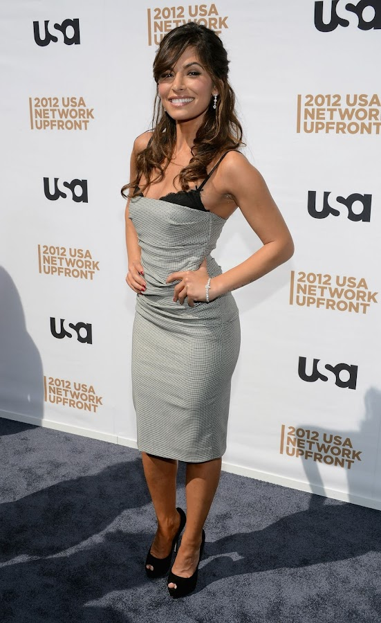SARAH SHAHI posing at USA Upfront Presentation 2012