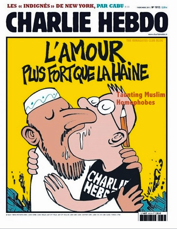 CHARLIE HEBDO cover mocks Muslim homophobia - editor takes sloppy kiss