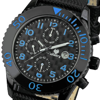 INFANTRY NEW BLACK DAY DATE SPORTS ANALOG ARMY LEATHER MENS WIRST WATCH 6 HANDS