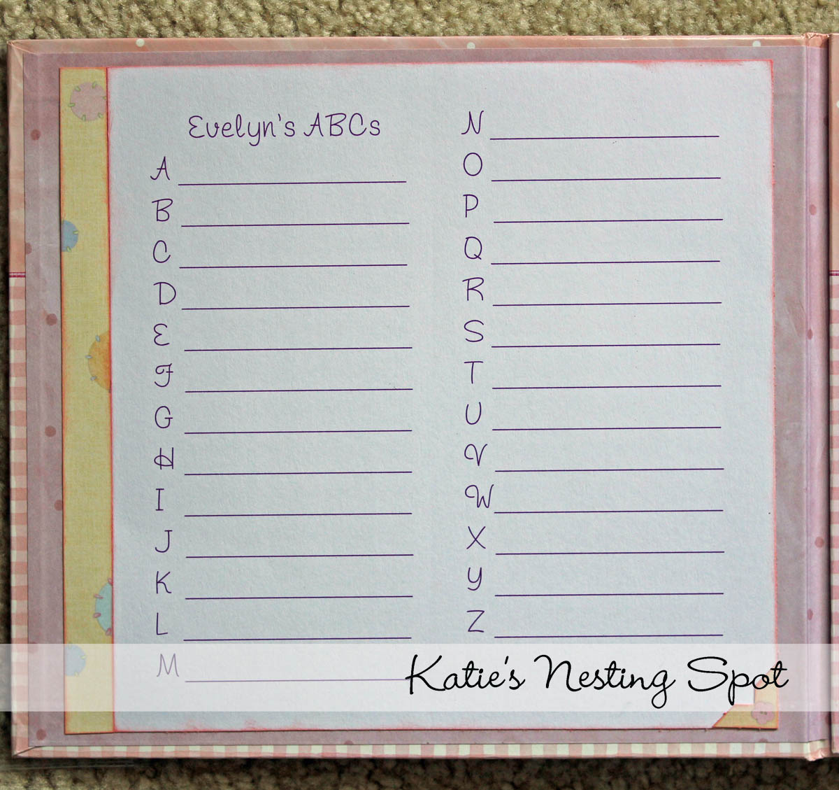 Abc scrapbook ideas list - It S Been Waiting In My Stash Along With The Sheet Of Round Letter Stickers From Pebbles Inc For The Next Baby Girl To Be Born Any Alphabet Sticker Set