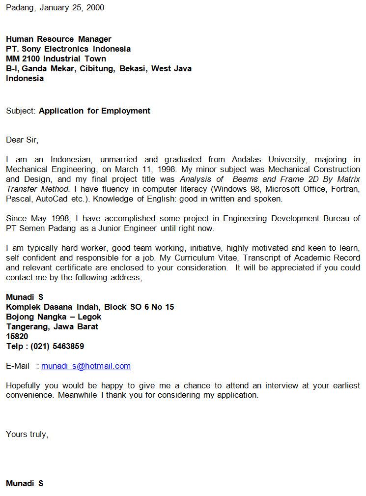 Surat Lamaran Kerja ke PT. Sony Electronics Indonesia Bahasa Inggris