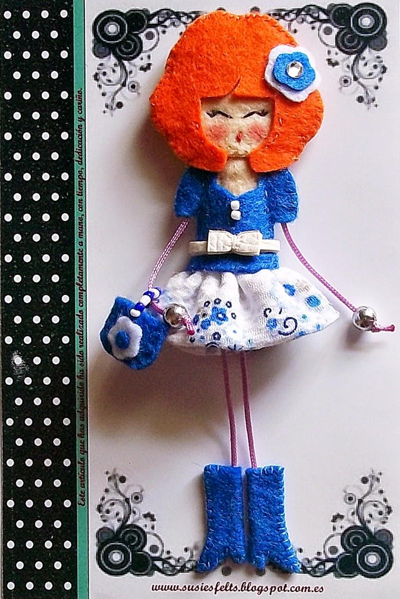 Susie, broches, fieltro, muñecas,  handmade