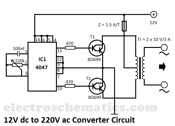 12V DC to 220V AC Converter    Circuit      Electrical