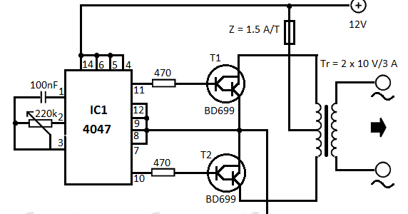 electrical engineering world  12v dc to 220v ac converter circuit