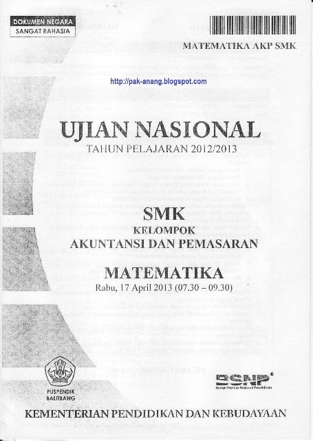 Berbagi Dan Belajar Naskah Soal Un Matematika Smk 2013 Kelompok Akuntansi Dan Pemasaran Paket 1