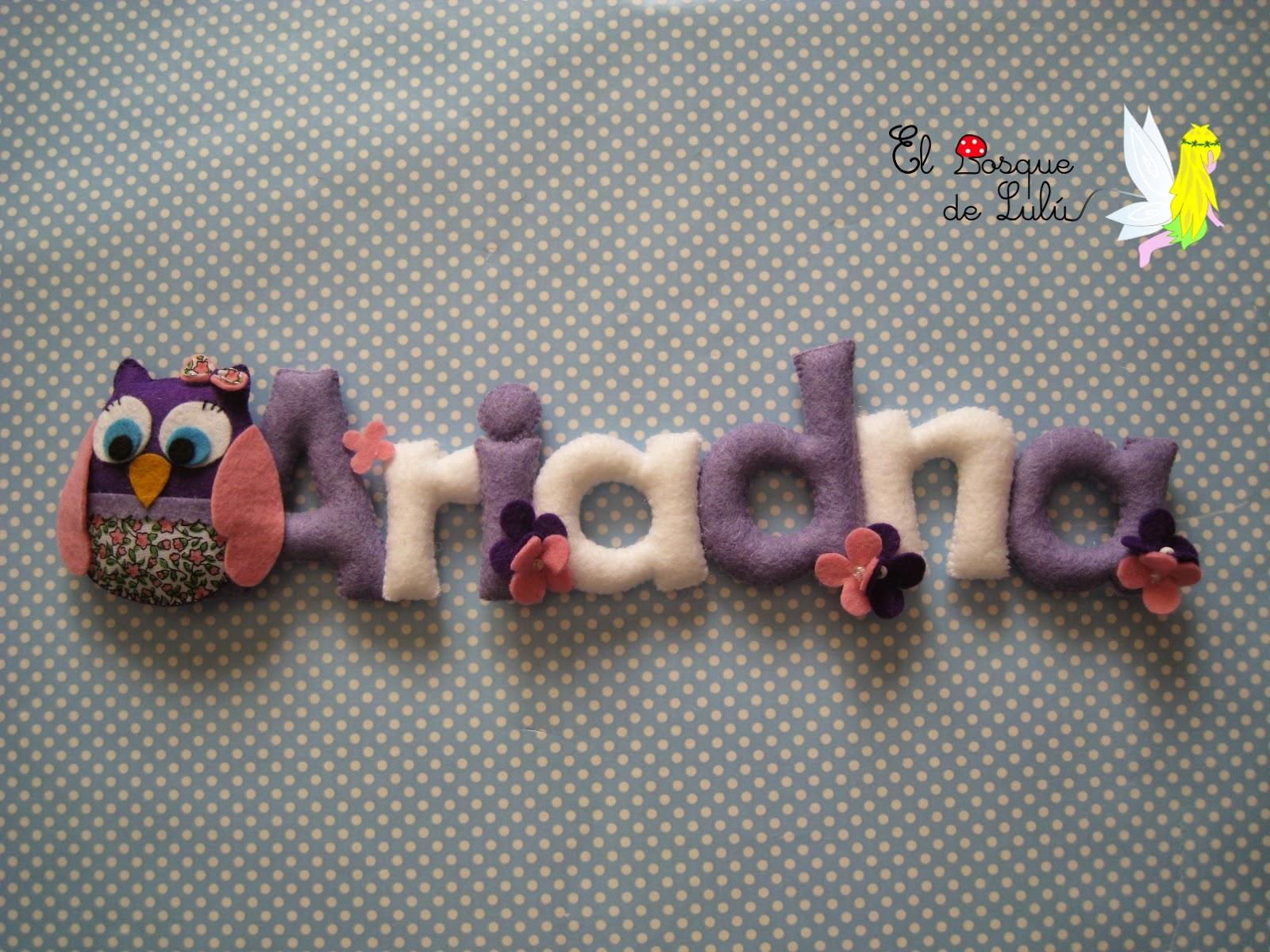 nombre-decorativo-de-fieltro-en-fieltro-buho-Ariadna-decoración-finantil-name-banner