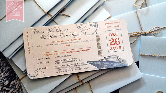 Nautical Cruise Boarding Pass Wedding Card