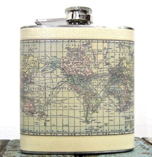 Ma Bicyclette: Buy Handmade | Whimsy and Ink Hip Flasks - World Map Hip Flask