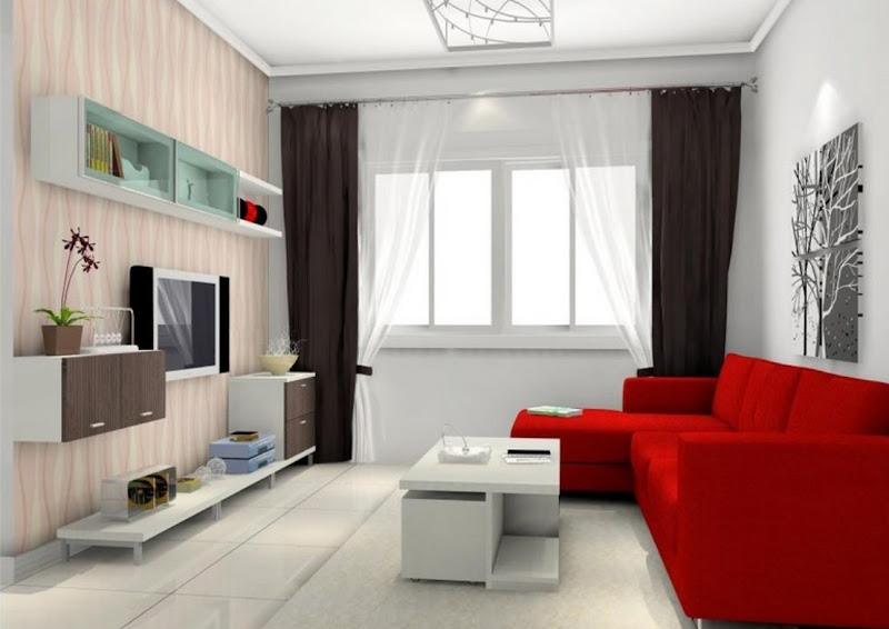 White with Red Couches Living Room