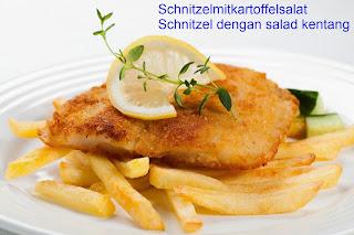 Schnitzelmitkartoffelsalat - schnitzel dengan salad kentang