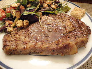 Grilled Rib Eye Steaks Cauliflower Salad | Healthy Pork Steaks Recipe