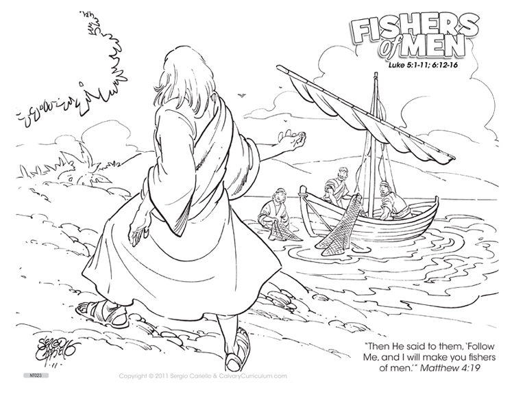 Fisher's of Men Coloring Pages http://calvarycurriculum.blogspot.com/2012/07/new-coloring-pictures-from-sergio.html
