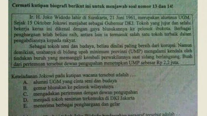 Nama Jokowi Muncul di Soal UN