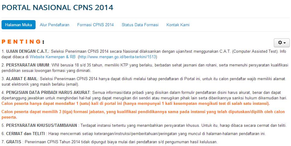 Cara Pendaftaran Online CPNS 2014  Panselnas.menpan.go.id