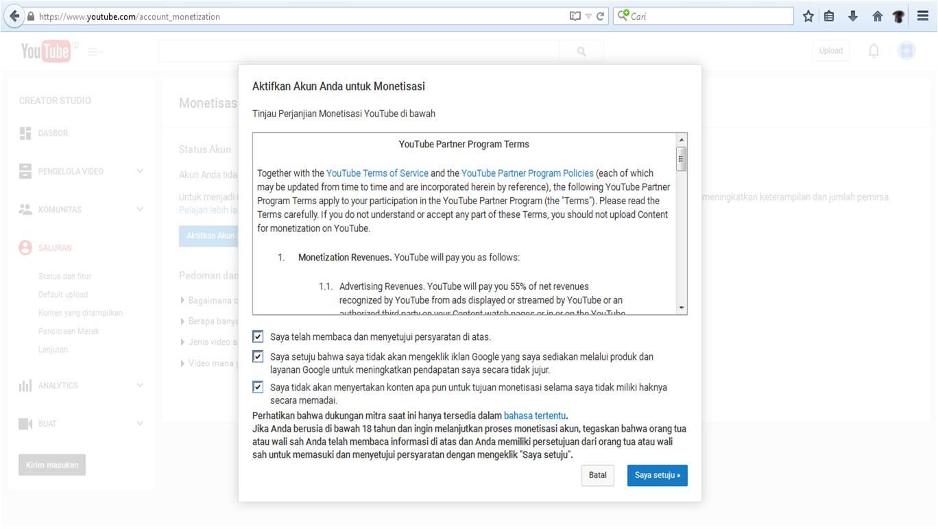 Cara Mendaftar Adsense dengan Akun Youtube