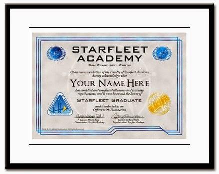 Star Trek Starfleet Academy diploma Sulu Hahn cafepress.com