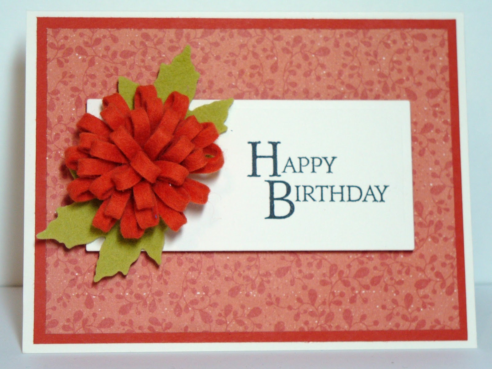 Barbs Bunny Hutch Felt Flower Birthday Card