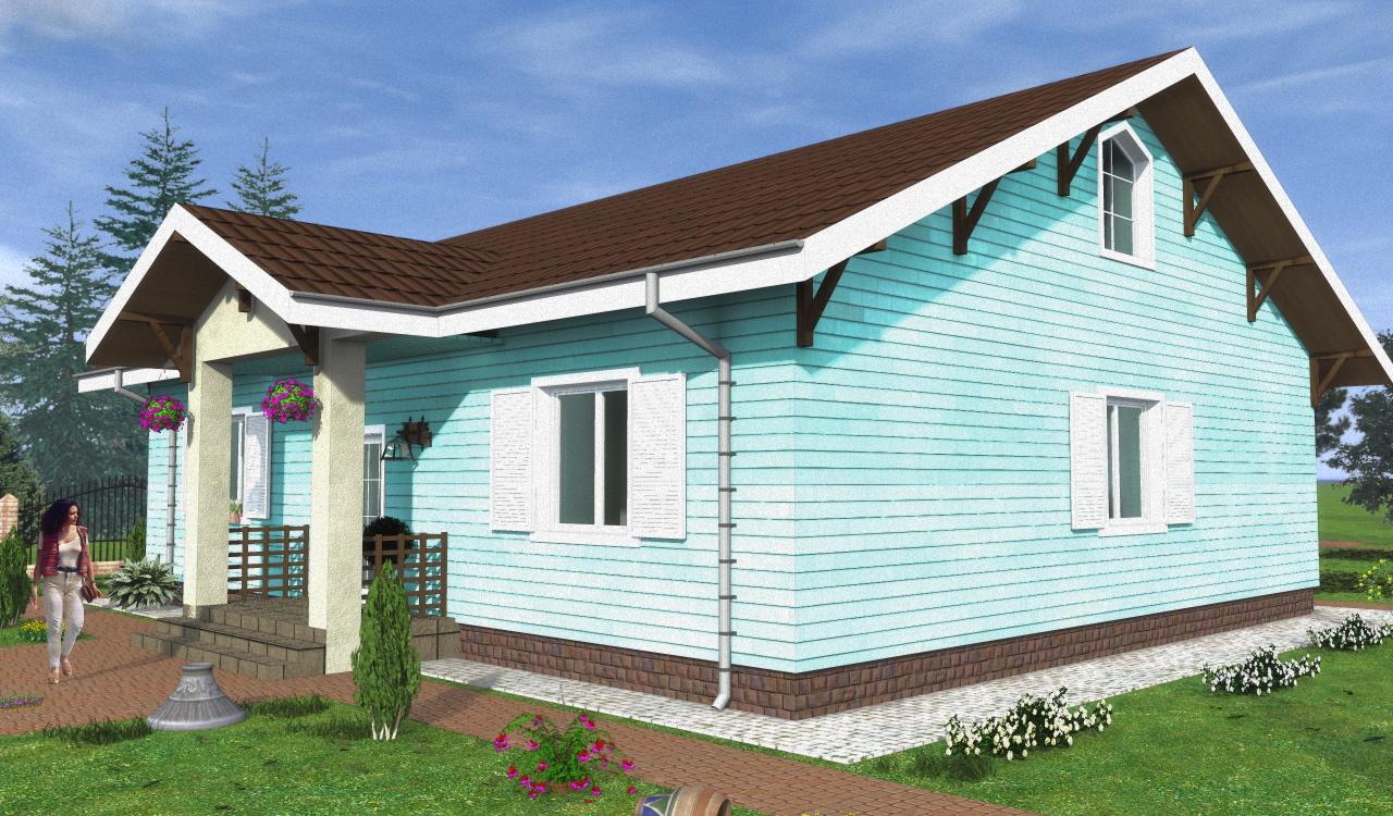 Одноэтажный европейский каркасный дом ВПК-70