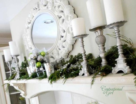 Ballet white christmas mantel decorations White christmas centerpieces