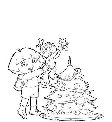 Dora Colorear Navidad