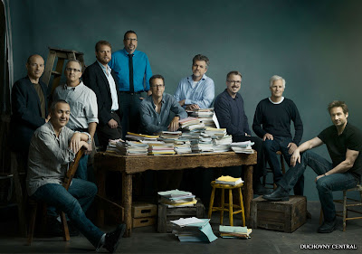 "From left: Howard Gordon (""Homeland""), Steven Maeda (""Helix""), Darin Morgan (""Fringe)"", David Amann (""Castle""), John Shiban (""Hell on Wheels""), Greg Walker (""Vegas""), Jeff Bell (""Marvel's Agents of S.H.I.E.L.D.""), Vince Gilligan ""(Breaking Bad""), creator Chris Carter (""The X-Files: I Want to Believe"") and David Duchovny (""Californication"")"