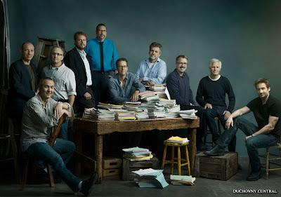 "From left: Howard Gordon (""Homeland""), Steven Maeda (""Helix""), Darin Morgan (""Fringe)"", David Amann (""Castle""), John Shiban (""Hell on Wheels""), Greg Walker (""Vegas""), Jeff Bell (""Marvel's Agents of S.H.I.E.L.D.""), Vince Gilligan ""(Breaking Bad""), creator Chris Carter (""The X-Files: I Want to Believe"") and David Duchovny (""Californication"")"