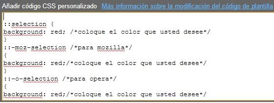 código CSS para cambiar el fondo del texto seleccionado