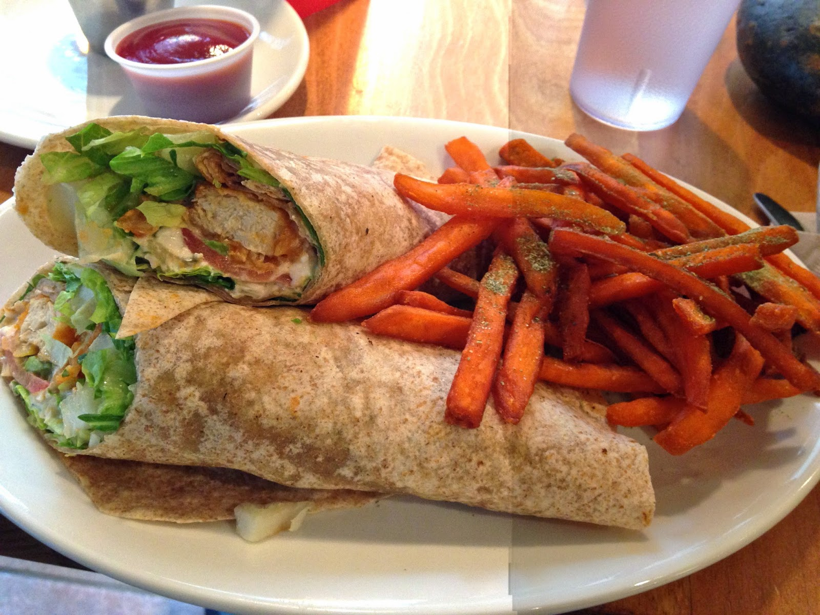 Native Foods Cafe Twister Wrap Sweet Potato Fries Vegan