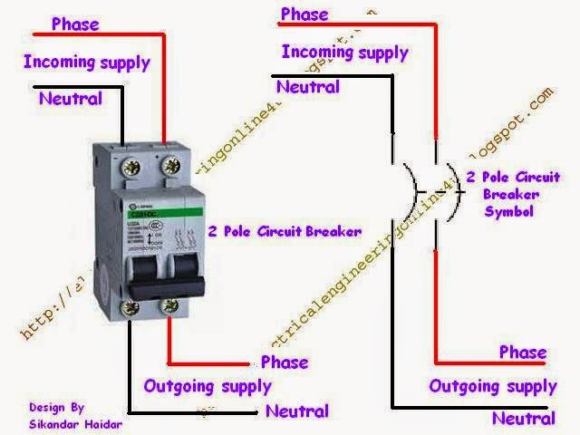 Wiring of double pole circuit breaker