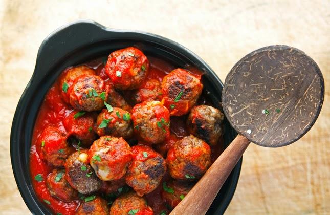 Mini Gouda-Stuffed Meatballs in Marinara Sauce
