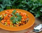 Sweet Potato Salad with Roasted Poblano, Roasted Corn & Chipotle