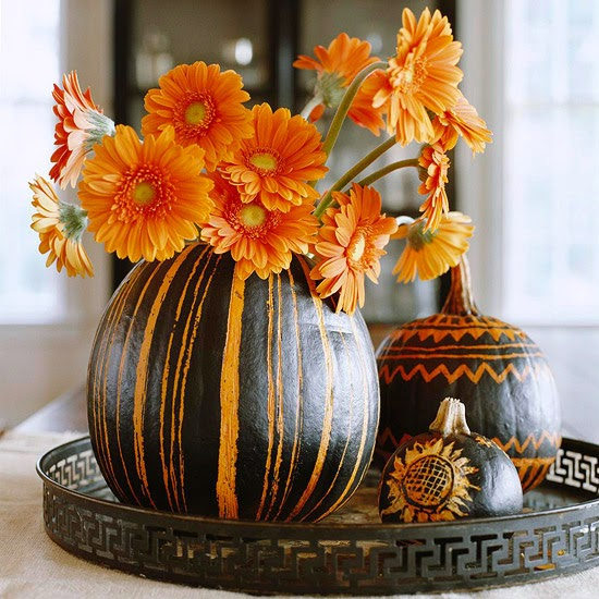 Modern furniture 2013 clever halloween centerpieces Flower painted pumpkins