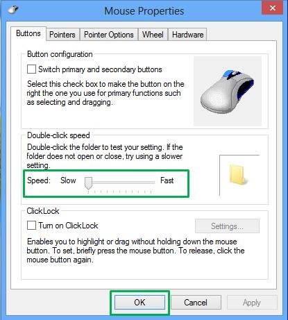 Mouse settings doble klik