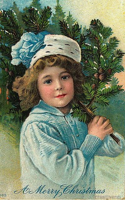 """старинная  открытка """"С Рождеством"""""""