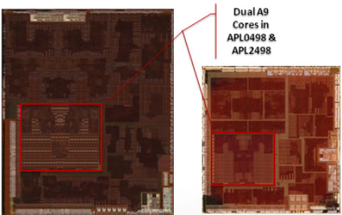45nm A5 (left) vs. 32nm A5 (right)
