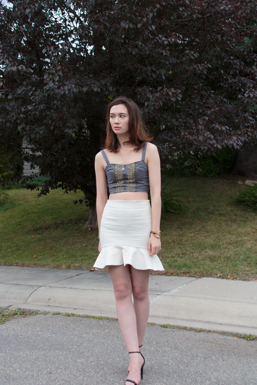 peplum hem skirt, crop top, summer fashion, fall fashion,