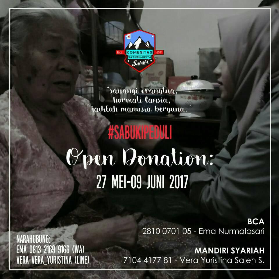 Open Donasi, Sabuki Peduli Lansia, 27 Mei - 9 juni 2017