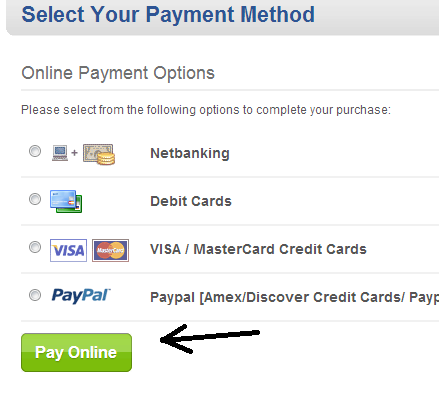 Payment Options in Bigrock