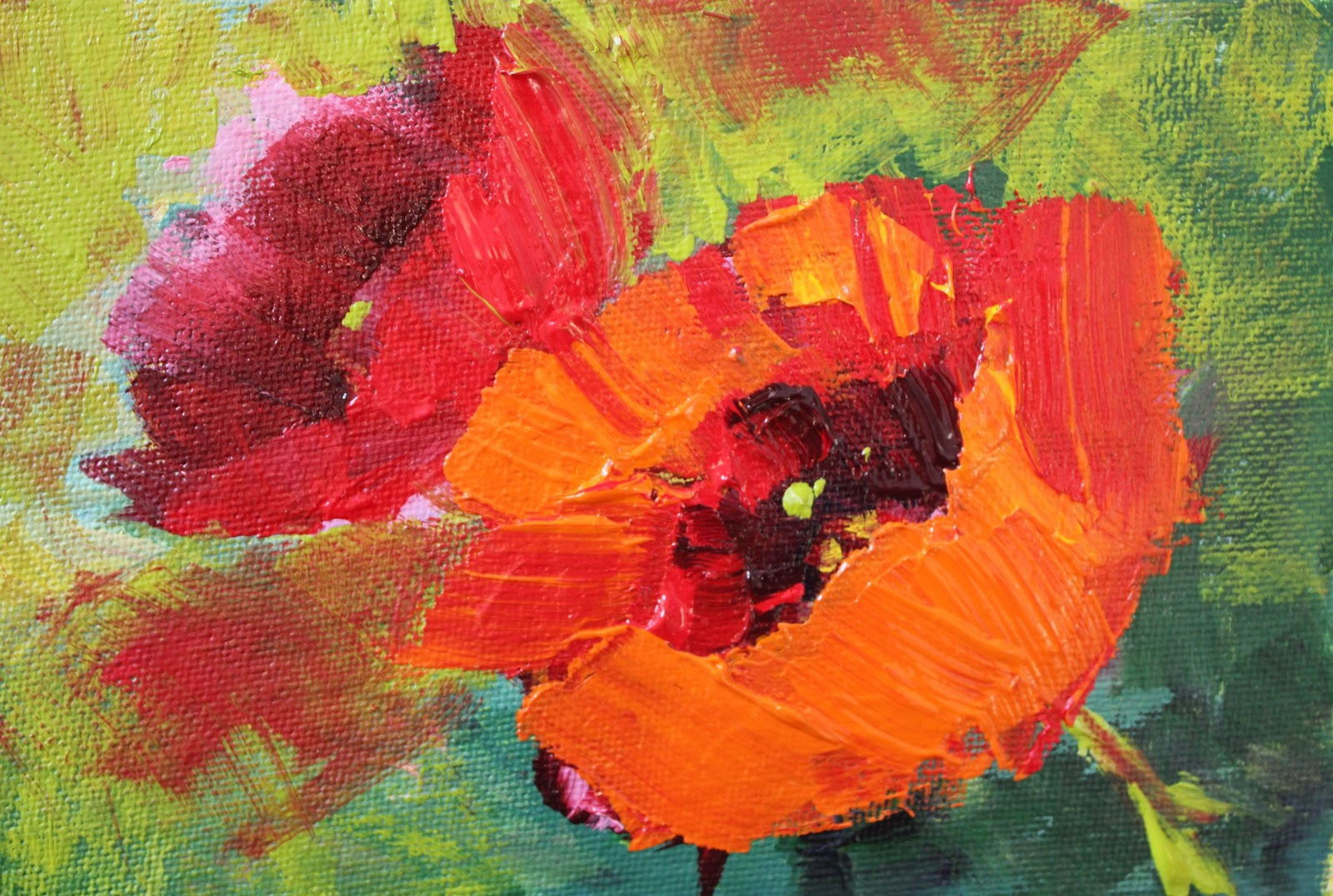 Amy whitehouse paintings best poppies contemporary floral for Floral acrylic paintings