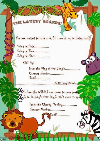 Jungle Free Party Invitations
