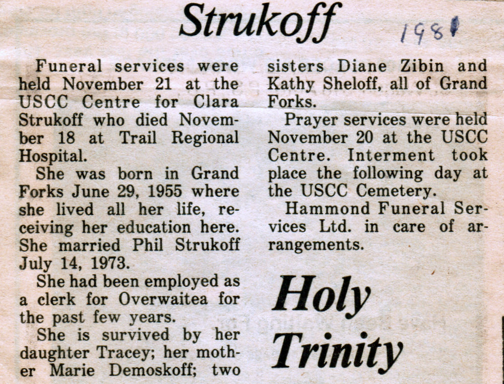Clara Strukoff obituary 1981